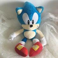 Аниме Кукла Плюшевые игрушки Соник Ежик 40 см синий плюшевый Соник игрушки милые мягкие детские подарки для маленьких мальчиков большие мяг...