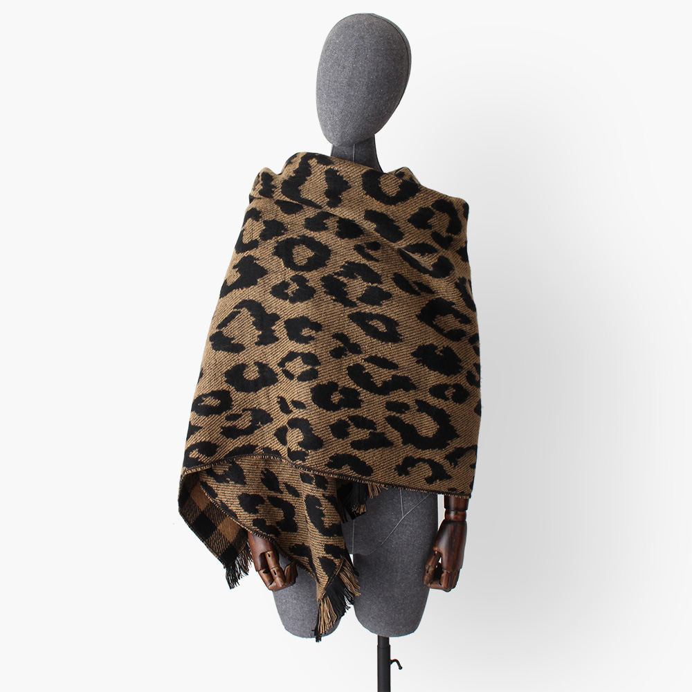 leopard plaid double sides cashmere like scarves women winter thick warm acrylic blanket scarf lady large shawl wraps in Women 39 s Scarves from Apparel Accessories
