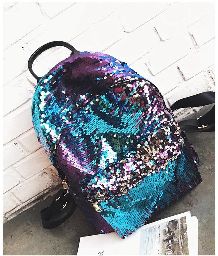 Fashion Style Leather School Backpack Bag For College Sequins Design Girls Casual Daypacks Mochila Women promotion dual use women shoulder bag backpack japan korean style girls pu leather college students school bags mochila