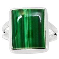 Genuine MALACHITE Ring 925 Sterling Silver Jewelry,USA Size :7.5, MHBAR3766