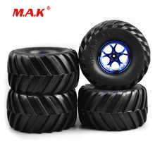 4Pcs/Set Rubber Tires & Wheel Rims Diameter 135mm with 12mm Hex fit 1:10 Scale RC Bigfoot Monster Truck Car Model Accessories