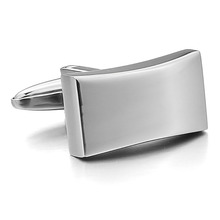 Men's Stylish Rectangular Stainless Steel Cufflinks without pattern