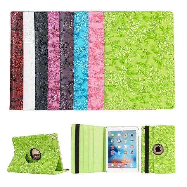 Fashion Grape Grain Flip Smart Sleep Wake Stand 360 Degree Rotating Protective PU Leather Case Cover For Apple iPad pro 9.7 inch