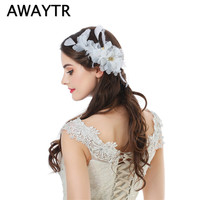 Awaytr白い花のヘアジュエリーフェザーヘアクリップ用女