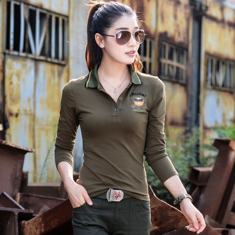 2017 new spring women fashion long sleeved embroidery polo shirt ... a4361d6fe