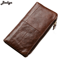 Genuine Leather Classic Men S Long Wallet Coin Package Retro Wallets High Quality Vintage Designer Famous
