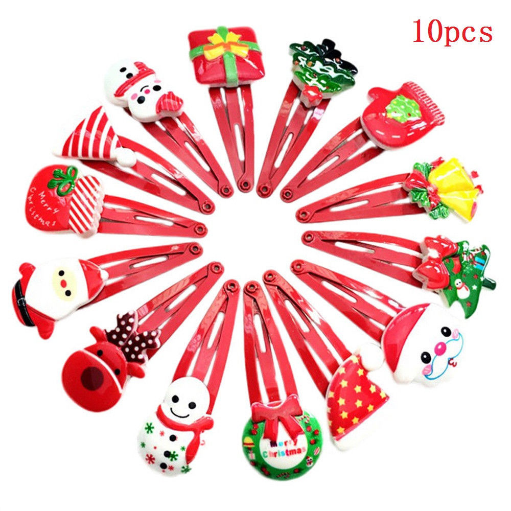 10Pcs/Pack Baby Girl Fashion Multi-style Lovely Xmas Hairpins Cartoon Kids Girl's Barrettes Hair Clips Party Christmas Gift