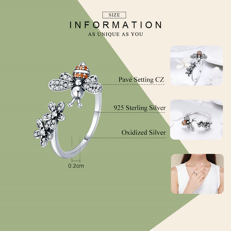 BAMOER 100% 925 Sterling Silver Trendy Bee & Daisy Flower Finger Rings for Women Adjustable Size Valentine Gift Jewelry SCR422