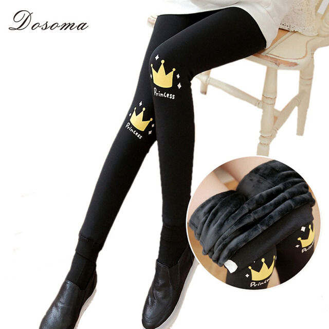crown printed fleece leggings women 2016 autumn/winter lovely girls rabbit thicken leggings warm mustache pattern leggings women