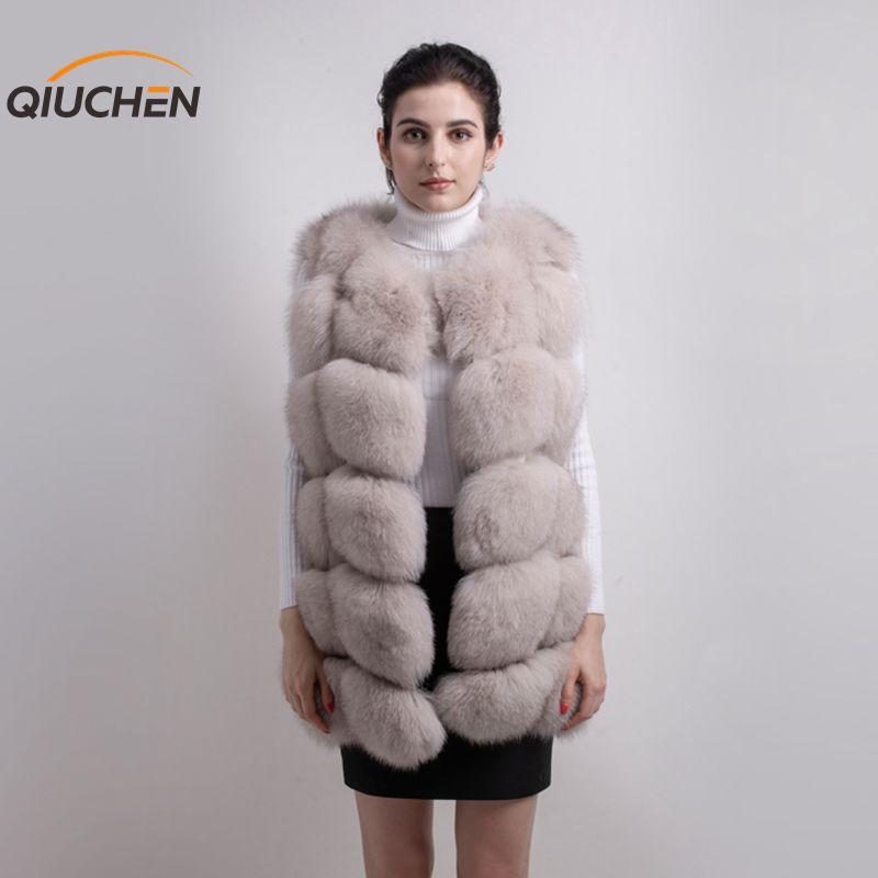 Qiuchen PJ8046 كبير بيع شحن مجاني أكبر الفراء جديد فرو الثعلب الطبيعي طويل سترة ريال فوكس الفراء جيليه الشتاء جودة عالية النساء الثعلب