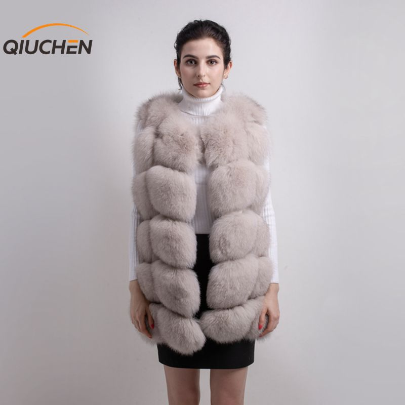 QIUCHEN PJ8046 GRANDE VENDITA di TRASPORTO LIBERO più grande della pelliccia di trasporto del nuovo naturale della pelliccia di volpe lungo maglia reale della pelliccia di volpe gilet gilet di pelliccia di inverno di alta qualità delle donne di volpe