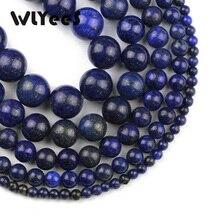 WLYeeS Natural stone Lapis lazuli Stone 4 6 8 10 12mm Dark Blue Round loose beads for mens Jewelry bracelet making DIY ball 15