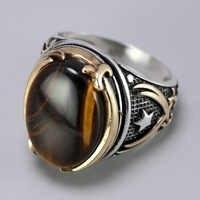 Genuine Feste 925 Silber Ringe Coole Vintage Ringe Natürliche Onyx Tiger Eye Große Türkische Ringe Für Männer Mit Steine Türkische schmuck
