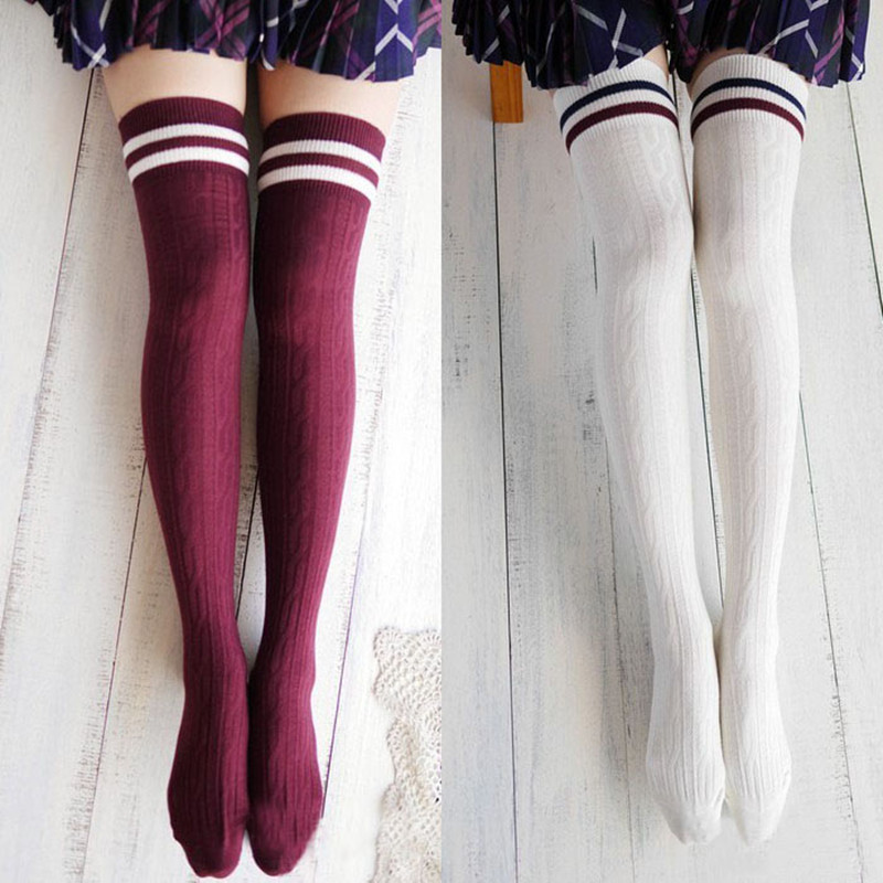 f18d9f702 College Wind Women Fashion Hot Thigh High Socks Sexy Warm Cotton Over The Knee  Socks Striped Long Stockings For Girls Wholesale