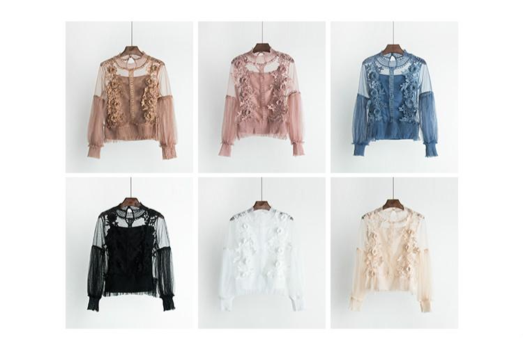 2018 Sweet Long Lantern Sleeve Transparent Hollow Out Mesh Blouses Women Two Pcs Set 3D Flower Mesh Shirts Sweet Flower Mesh Top 7