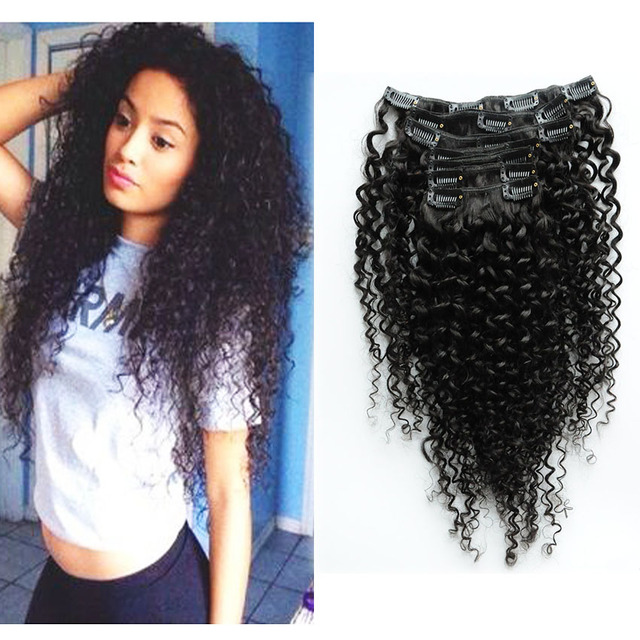 Malaysian Clip In Hu Man Hair Extensions Remy Kinky Curly Weaving