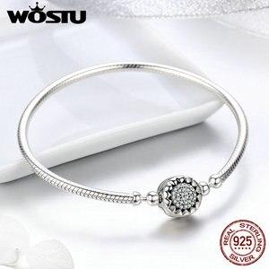Женский браслет-цепочка WOSTU, из 100% стерлингового серебра 925 пробы с ярким сердечком и цирконием ААА, CQB059