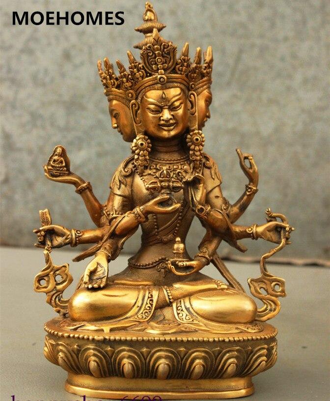 MOEHOMES 9Chinese Tibet Bronze Gilt 3 Head 8 Arms Ushnishavijaya Namgyalma Buddha Statue metal handicraft decorationsMOEHOMES 9Chinese Tibet Bronze Gilt 3 Head 8 Arms Ushnishavijaya Namgyalma Buddha Statue metal handicraft decorations