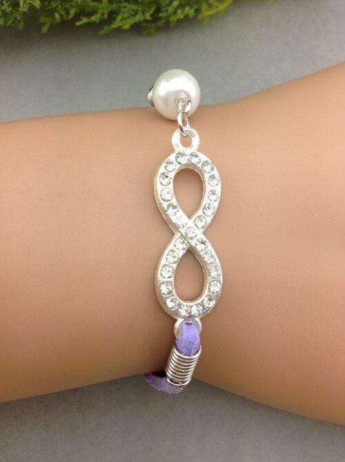 1pcs Wedding Bracelet,Bridesmaid gifts,Lavender bracelet,Infinity bracelet, rhinestones 8 charm pearl 1100 MIn order 10$
