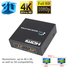 4K x 2K HDMI Splitter 1X2 3D Video Converter 1X2 Split Switcher 1 in 2 Out Amplificatore Dual display Per PS3 PS4 Xbox HDTV DVD Player(China)