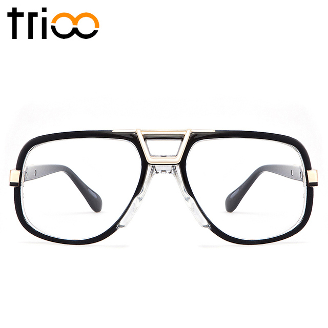 accc6c90b3 TRIOO Square Designer Eyewear Accessories Black Frame Clear Lens Glasses  Frame For Men Cool Fashion Computer