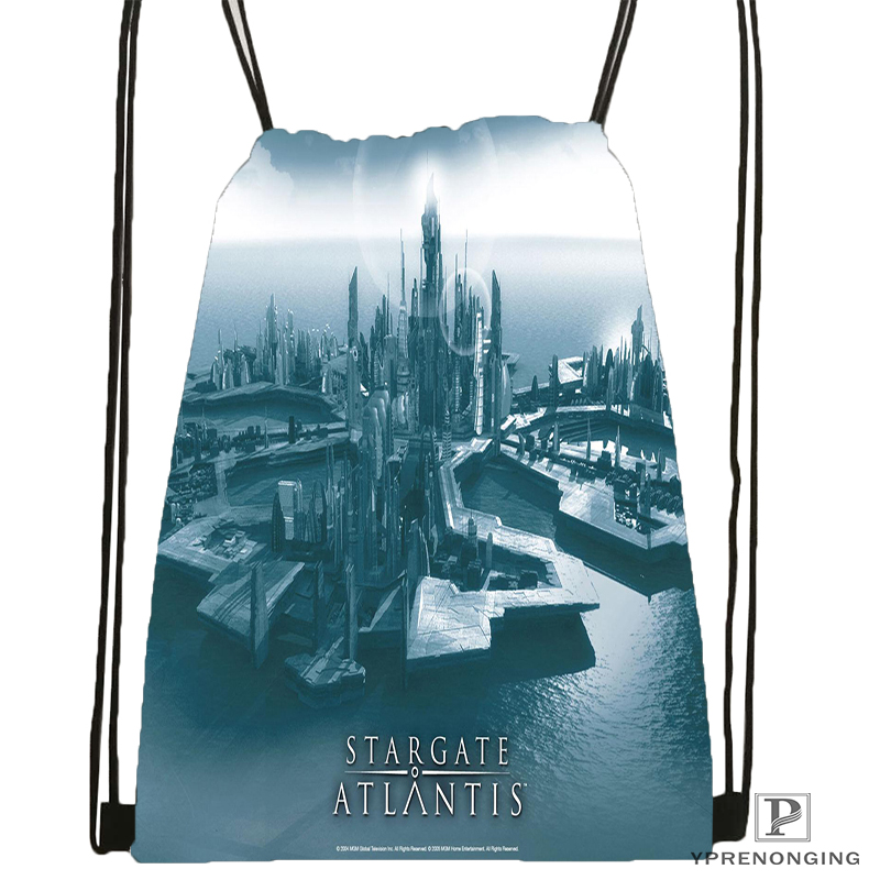 Custom Stargate Atlantis Drawstring Backpack Bag Cute Daypack Kids Satchel Black Back 31x40cm 180531 02 53