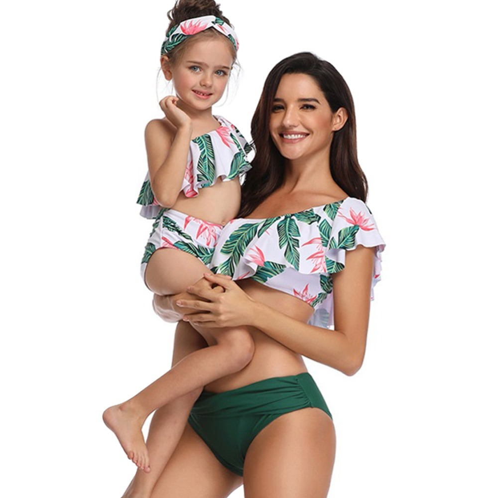 2019 New 2pcs Bikini Set Swimwear Mother And Daughter Clothes Family Matching Outfit Beach Holiday Girls Women Swimming Suit