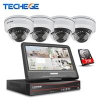 Techege 8CH 1080P POE NVR Kit With 10 1 LCD Monitor 2MP 3000TVL Vandalproof PoE IP