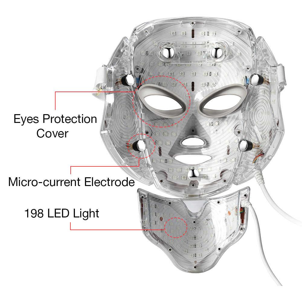 Đèn LED 7 Màu Mặt Cổ Mặt Nạ EMS Vi Điện Tử Đèn LED Photon Mặt Nạ Chống Nhăn Loại Bỏ Mụn Trẻ Hóa Da Mặt Làm Đẹp Spa