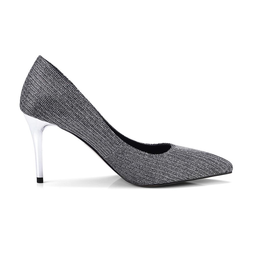 Moda Punta Primavera Tacones Asumer Otoño Altos Shallow Tacón Boda Zapatos Mujer Negro Fino De Toe Elegante wqqYC54