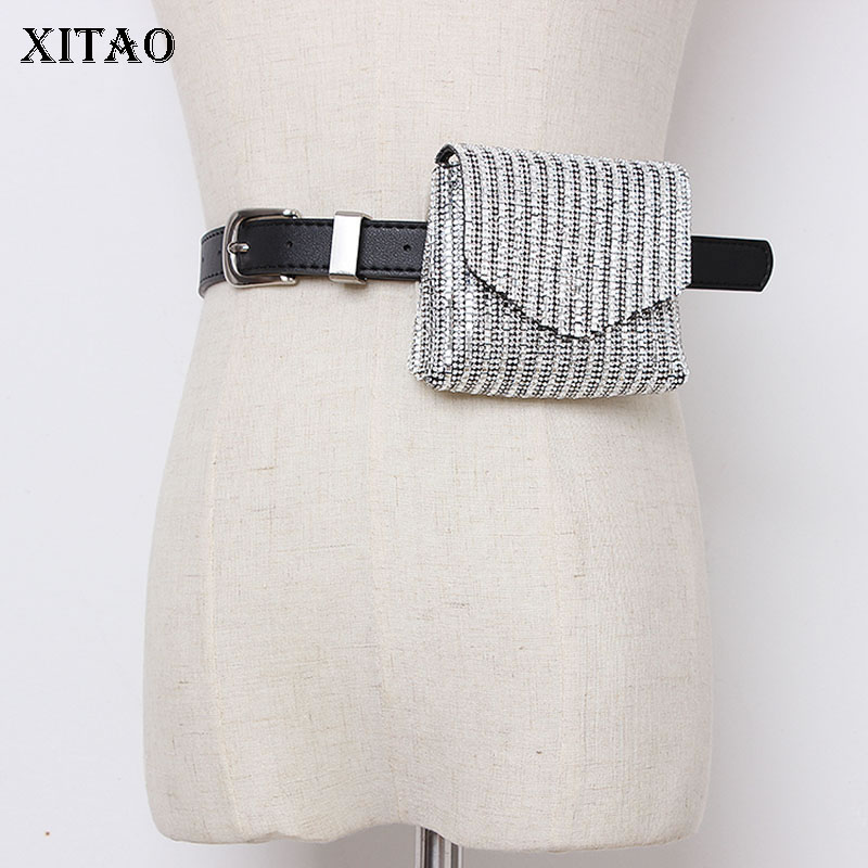 XITAO Wild Joker Women PU Cummerbunds Korea Fashion 2019 Mini Cute Small Square Diamond Pockets Elegant New Summer WLD2142