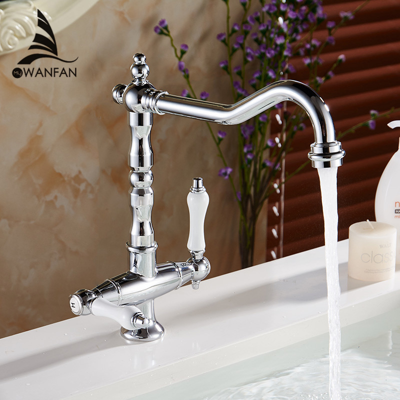 360 Degree Swivel Solid Brass bathroom Mixer Cold and Hot Kitchen Tap Single Hole Water Tap Kitchen Faucet LH-6036L new solid brass kitchen mixer cold and hot faucet kitchen tap single hole water tap kitchen faucet 360 degree stainless steel