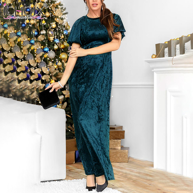 2018 Spring Velvet Long Dress Women Autumn Floor Length Bodycon Maxi Dress Vintage Female Elegant Evening Party Christmas Dress