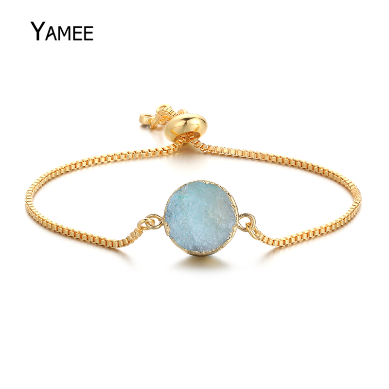5PCS Unice 9 Colors Oval Natural Stone Connector Quartz Crystal Druzy Golden Plated Adjust Bracelet Christmas gift For Women