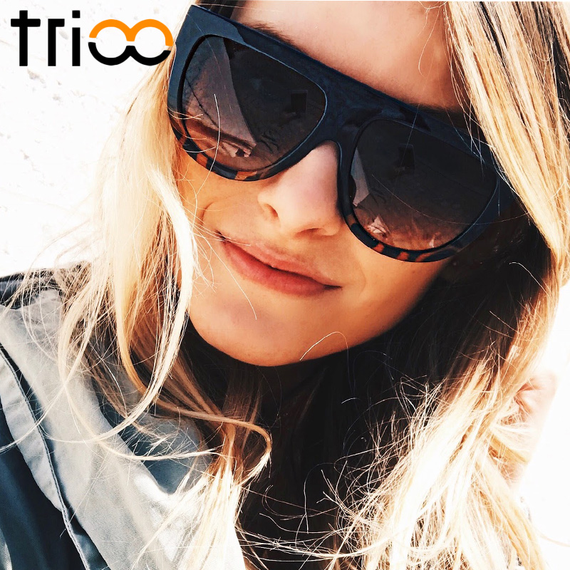 TRIOO Tortoiseshell Flat Top Ladies Sunglasses Oversized Color Shades Brown Gradient Lens Shadow Sun Glasses Gafas de sol mujer