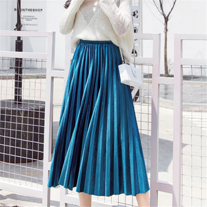 Pleated Skirt Women High Waist Skirts Womens Woman Elastic Silver Midi Skirt Plus Size Faldas Mujer Moda 2019 Party Skirts Women