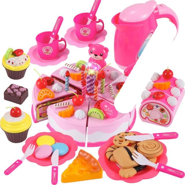 Children DIY Pretend Play Fruits Cutting Birthday Cake Kitchen Food Toys 6