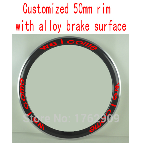 1Pcs New customized 700C 50mm clincher rims Road bike carbon fibre bicycle wheelsets rim with alloy brake surface Free shipping