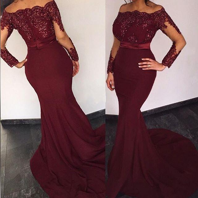 749ea6117b78 African Mermaid Evening Gowns Burgundy Off Shoulder Sequins Sash Long  Sleeves Prom Dress 2018 Dubai Arabic