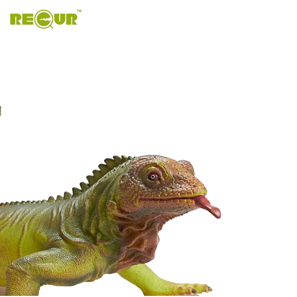 Recur Iguana Green Lizard Toy Model Soft PVC Safe Model Figure for Kids Collection recur ancient animal model saber toothed tiger model hand panited pvc animal figure toy gift collection for kids and collectors