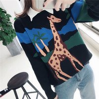 women's clothing 2019 new arrival women spring autumn animal knitted sweaters women o neck giraffe pullover sweater