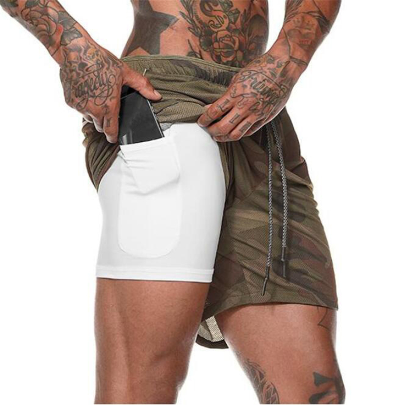Camouflage Men's Fitness Shorts Mens 2 In 1 Gyms Shorts Male Double-deck Quick Drying Security Pocket Shorts Jogging Shorts Men