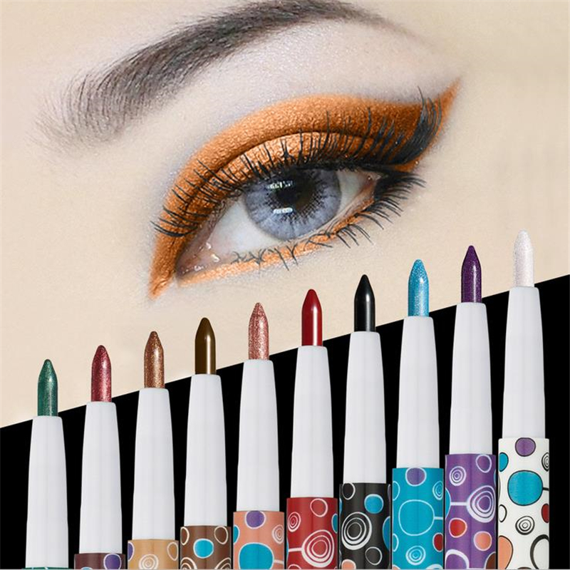 New Fashion Woman Eye Shadow Pencil Single Color For Halloween Party Make Up Matte Shimmer Green Brown Purple White Black