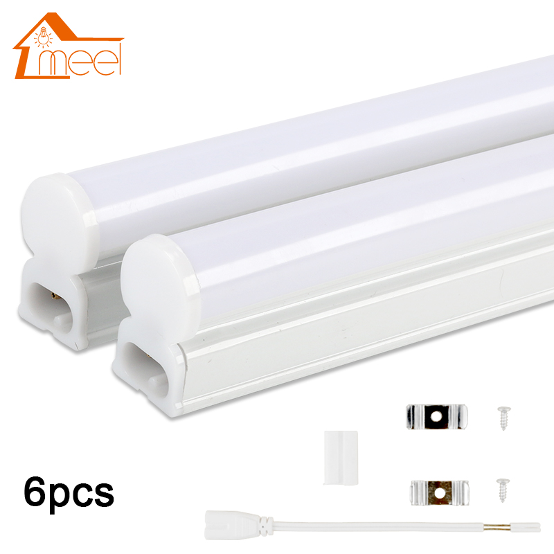 6Packs 220V 240V LED Tube T5 T8 Light 6W 10W LED Fluorescent Tube Wall Lamp Bulb 30/60cm Led Integrated Tube Cold White