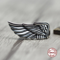 s925 sterling silver men ring Personality retro wings closed ring Punk wind to do the old style Send a gift to love