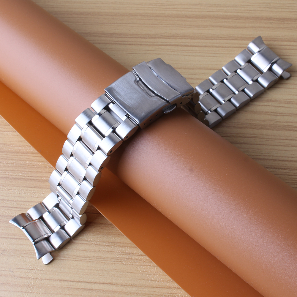 Curved end Watchbands 18MM 20MM 22MM 24MM Silver stainless steel solid links watch straps bracelets safety buckle folding clasp 13mm 20mm gold silver fashion watchbands stainless steel watch band new solid links watch bands bracelets relojes hombre