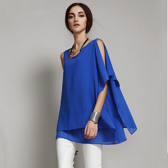 Plus size S- 5XL 6XL vestidos femininos,women casual blouse & chiffon shirts,girl brief chiffon vest tank ,asymmetrical  blusas 3