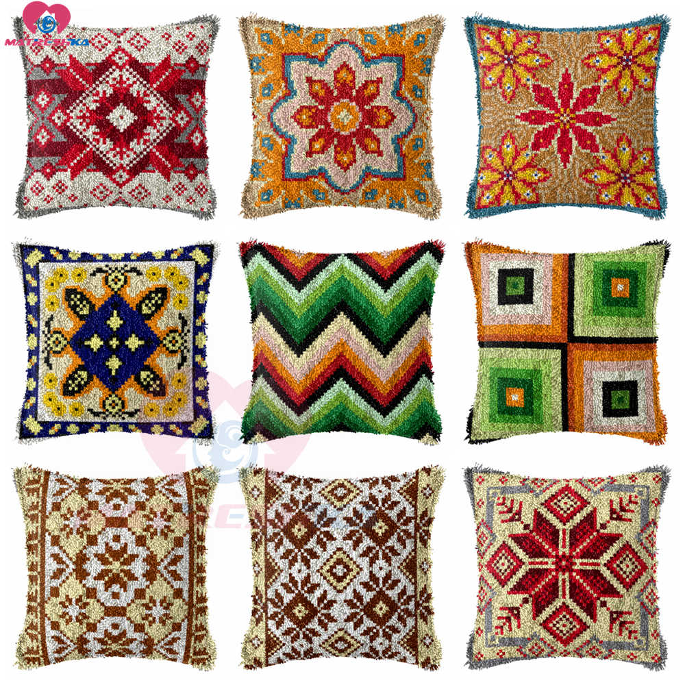 Dropshipping  Latch Hook kits Pillow mandala Diy Handmade Printed Canvas Cushion Latch Hook Kits Unfinished accessories 43x43cm