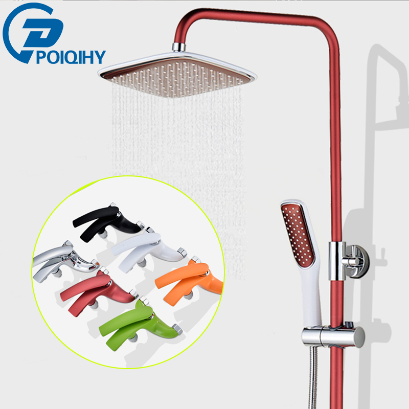 Luxury Bathroom Shower Faucet Wall Mounted Colorful Shower Faucet Set ABS Rainfall Shower Head