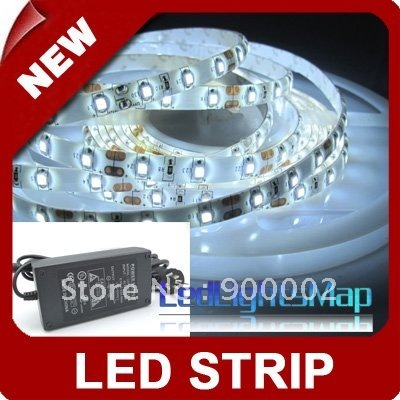 Free Shipping 10M/lot 3528 Waterproof Flexible Led Strip Light SMD 60Leds/M +12V 5A Power supply
